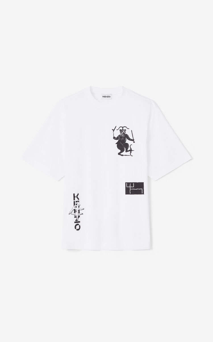 WHITE 'Sign & Symbol' oversize T-shirt for men KENZO