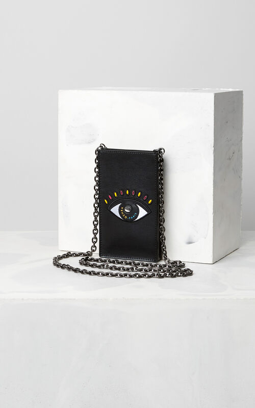 BLACK Eye Phone Holder on Chain for unisex KENZO