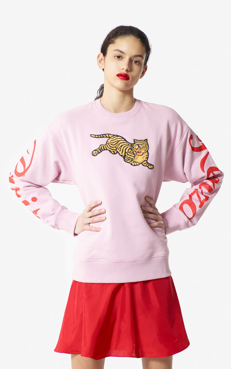 99145021b26c PASTEL PINK 'Jumping Tiger' fleece sweatshirt for women KENZO