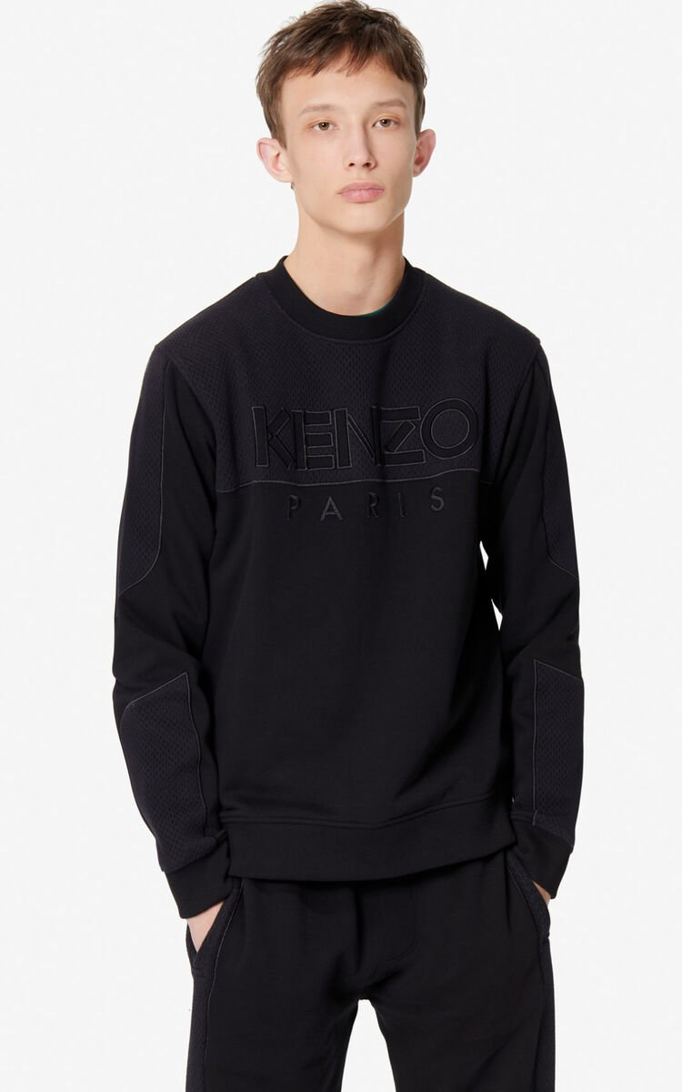 BLACK KENZO Paris dual-fabric sweatshirt for men