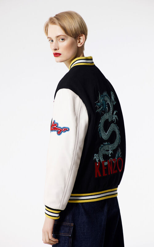 BLACK Embroidered Varsity Jacket for women KENZO