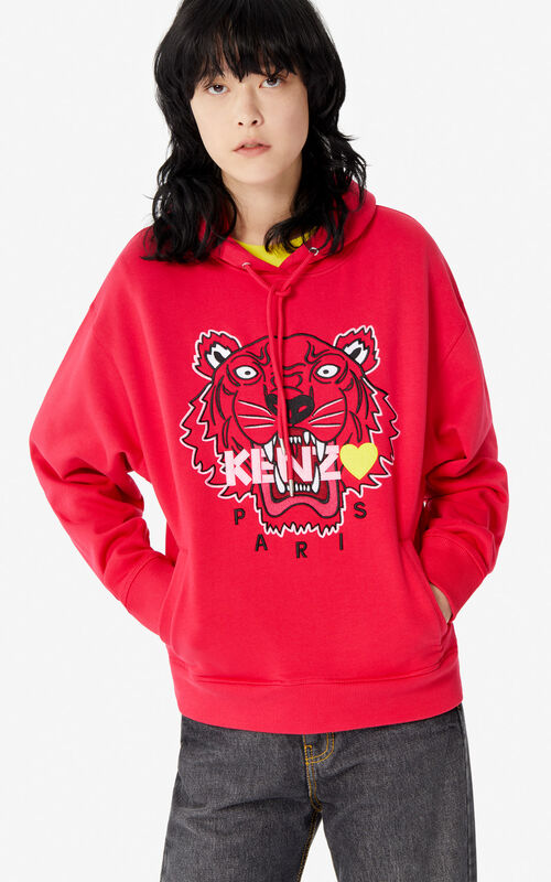 DEEP FUSCHIA Tiger hoodie sweatshirt for women KENZO