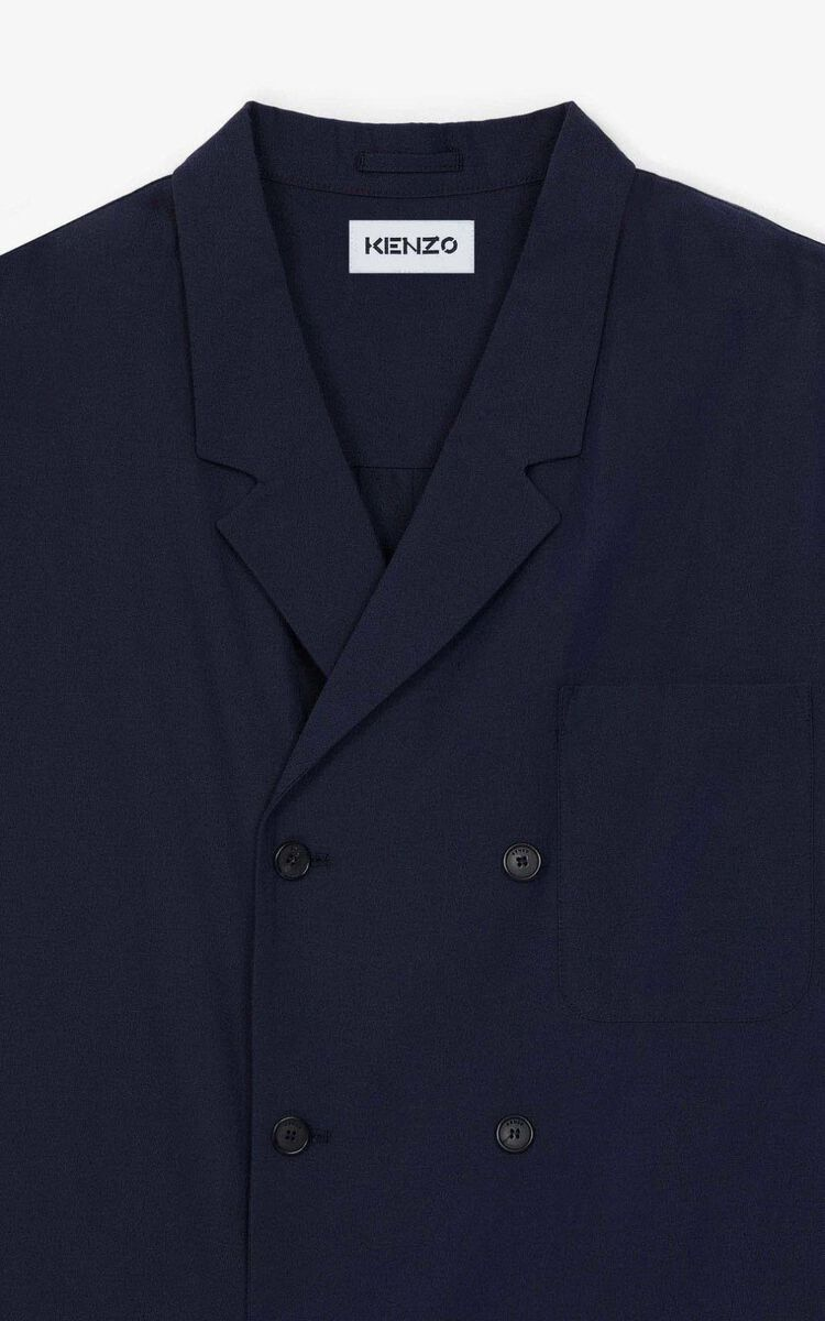 NAVY BLUE Long jacket for men KENZO