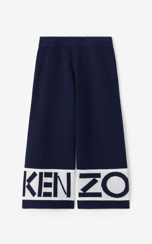 NAVY BLUE KENZO wool trousers for unisex