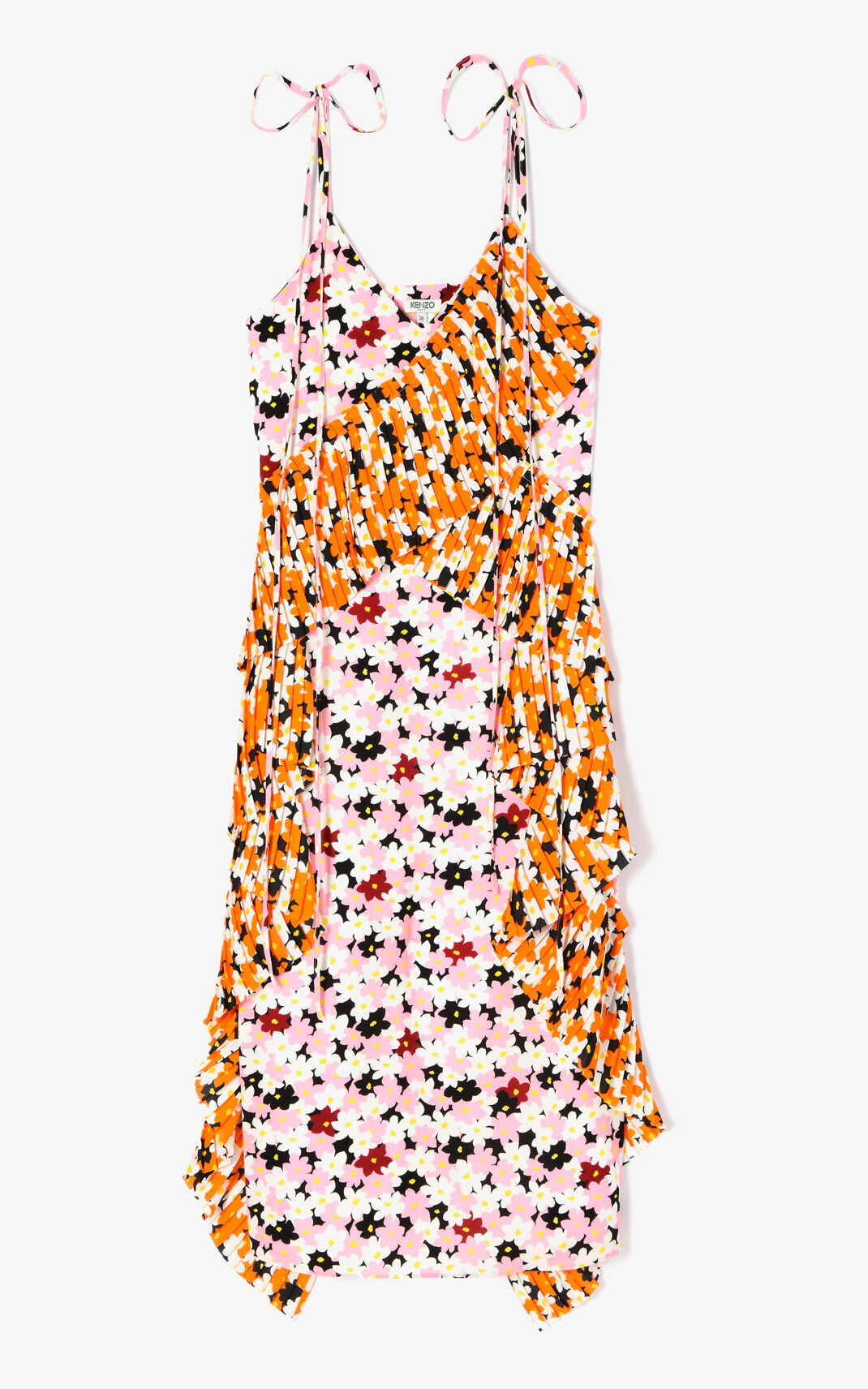 FLAMINGO PINK 'Jackie Flowers' mid-length dress for women KENZO