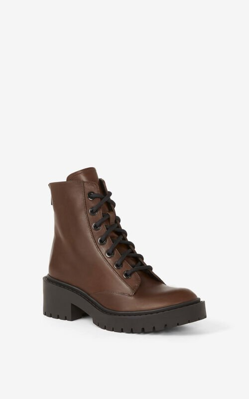 DARK BROWN Pike lace-up leather ankle boots for unisex KENZO