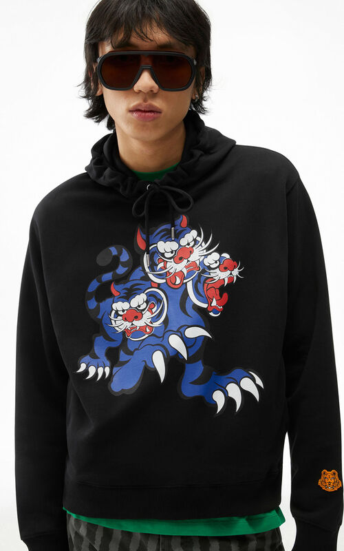 BLACK KENZO x KANSAIYAMAMOTO 'Trois Tigres' hooded sweatshirt for men
