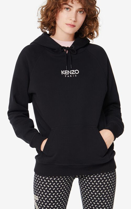 BLACK KENZO Paris hooded sweatshirt for women