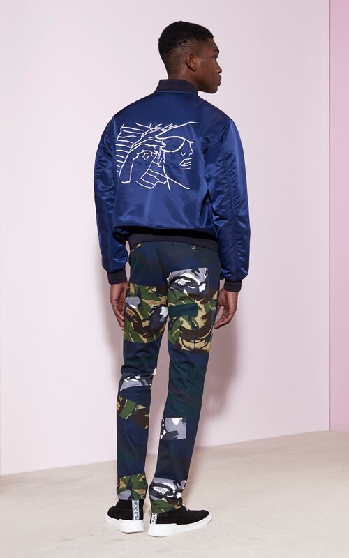 Bomber with  Sketches  Embroidery, MIDNIGHT BLUE, KENZO