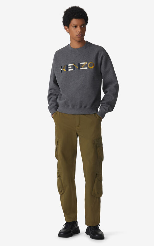 STONE GREY KENZO Logo multicoloured sweatshirt for men