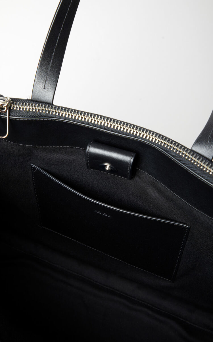BLACK Leather Kenzo logo tote bag for unisex