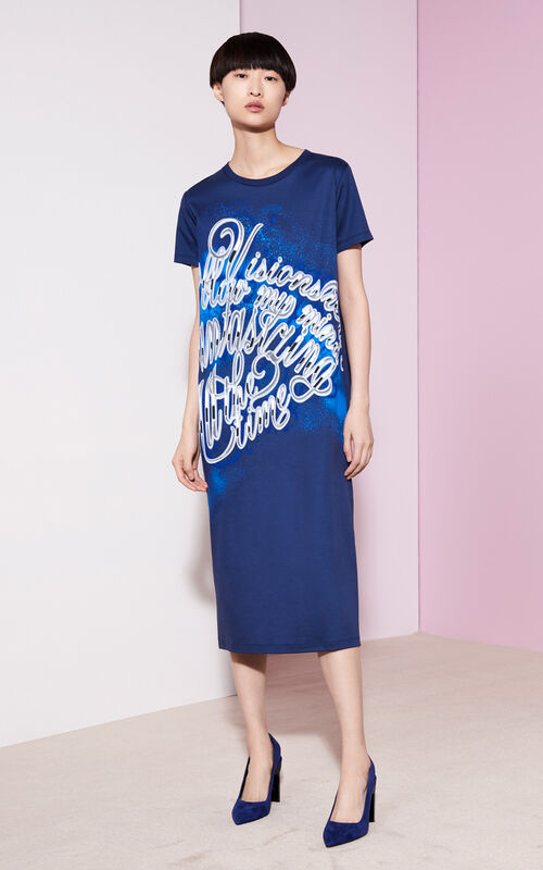 KENZO Lyrics Mid-lenght dress, MIDNIGHT BLUE, KENZO