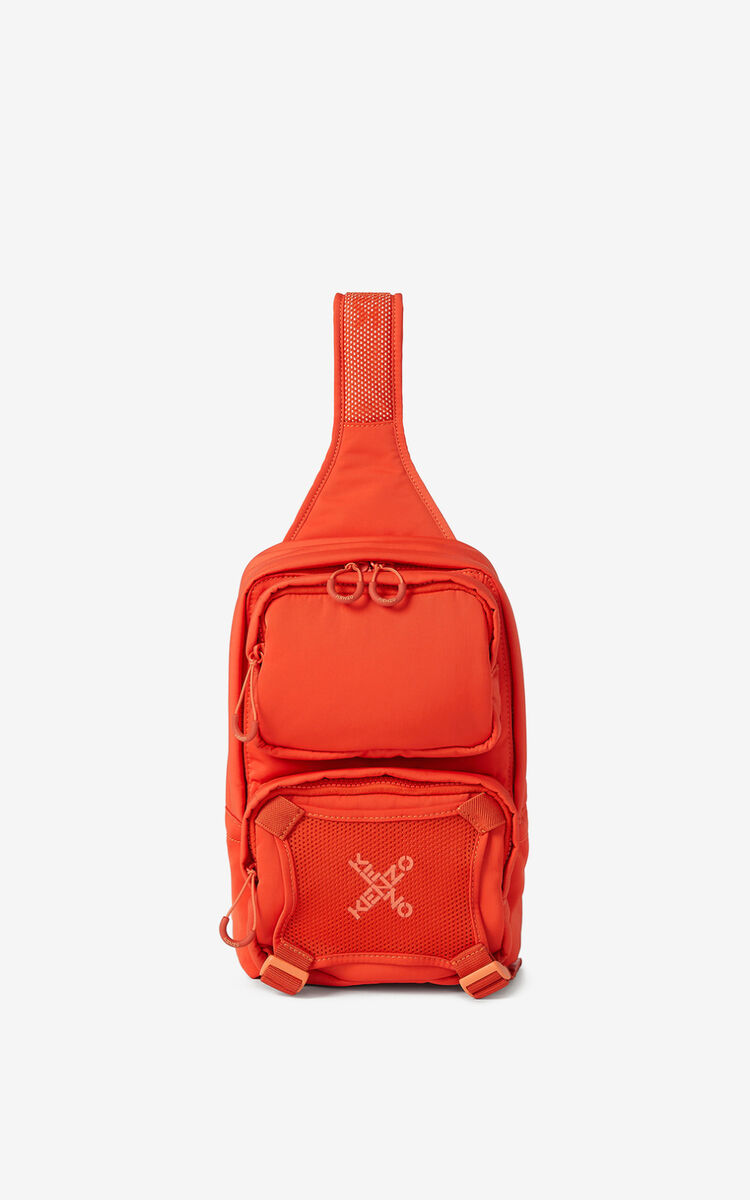 DEEP ORANGE KENZO Sport backpack with strap  for unisex