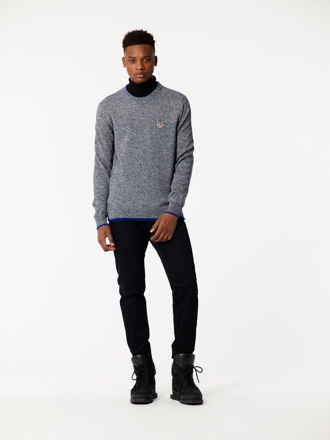 ANTHRACITE Tiger crest Merino sweater for men KENZO