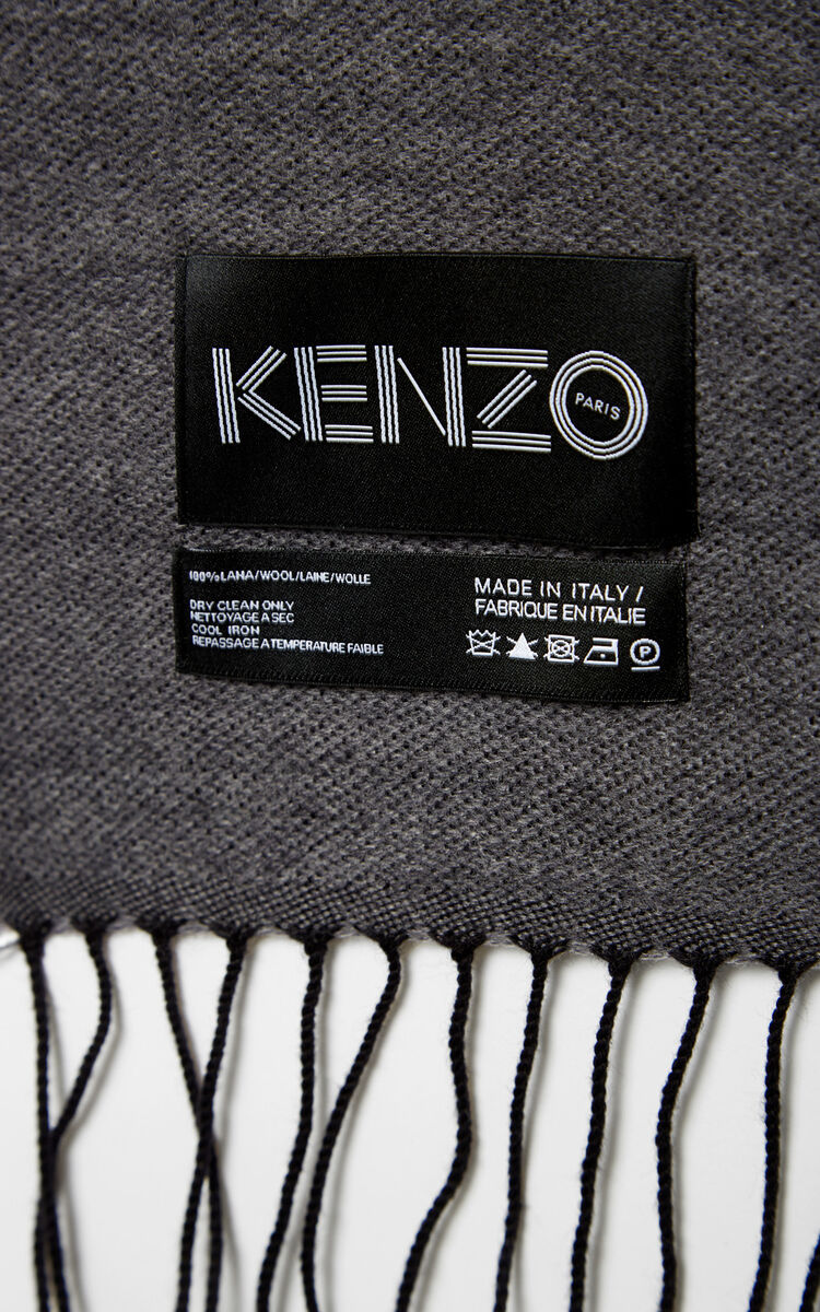 PALE GREY Geo Tiger Wool Scarf for unisex KENZO