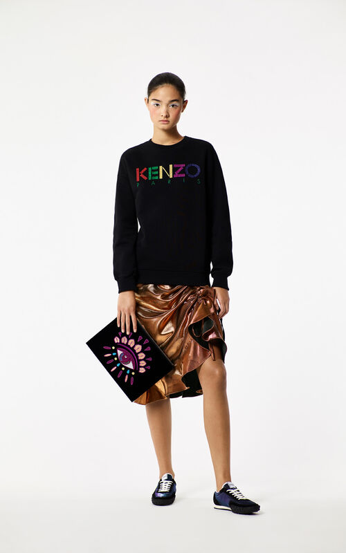 BLACK 'Holiday Capsule Collection' A4 Eye Clutch Bag in velvet for women KENZO