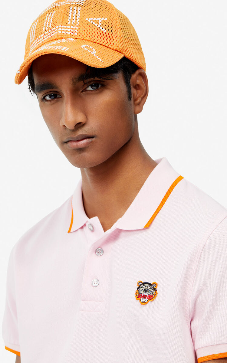 PASTEL PINK Fitted Tiger polo shirt for men KENZO