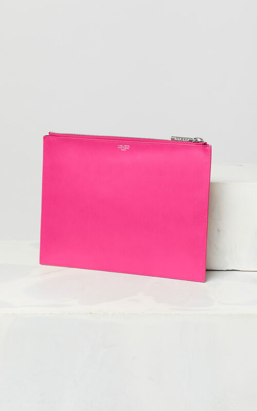 DEEP FUSCHIA A4 Eye leather clutch for unisex KENZO