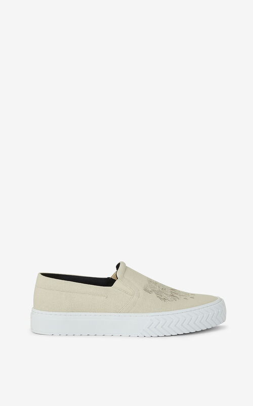 ECRU K-Skate Tiger laceless canvas trainers for unisex KENZO
