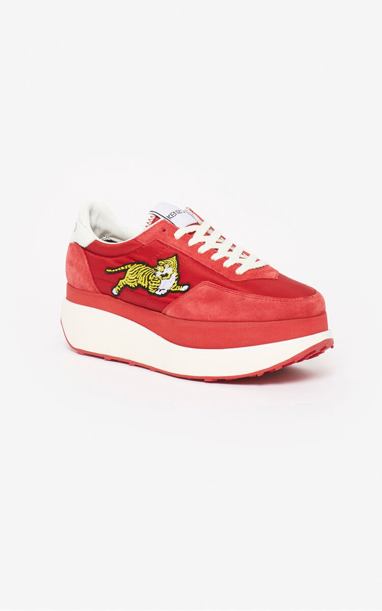 MEDIUM RED KENZO MOVE platform sneakers for unisex