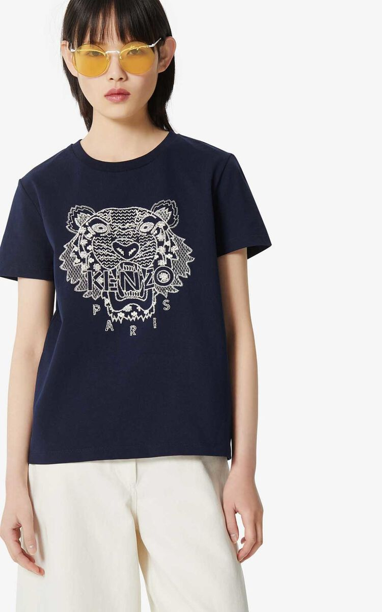 MIDNIGHT BLUE 'Ikat' Tiger t-shirt for women KENZO