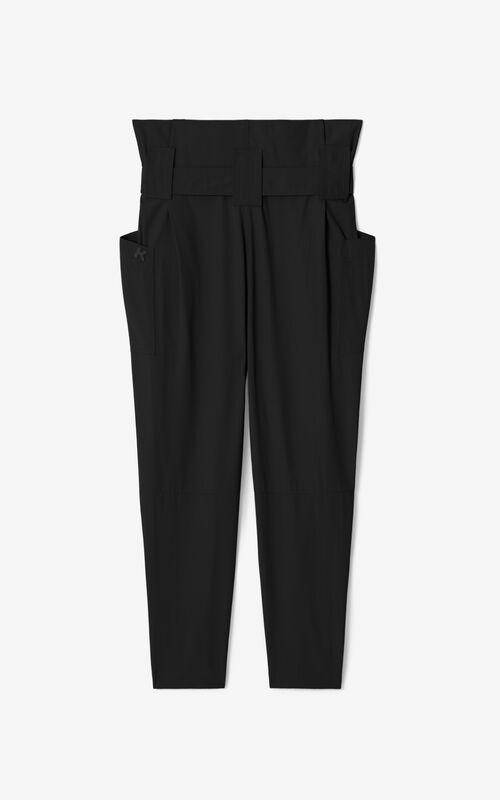 BLACK Cropped paper bag trousers for unisex KENZO