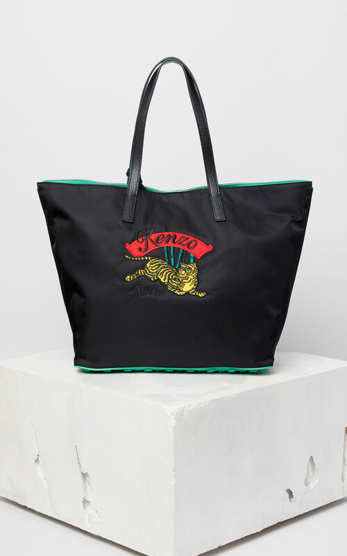 BLACK 'Jumping Tiger' tote bag for unisex KENZO