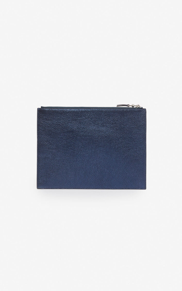 NAVY BLUE A4 Kontact Eye clutch for women KENZO