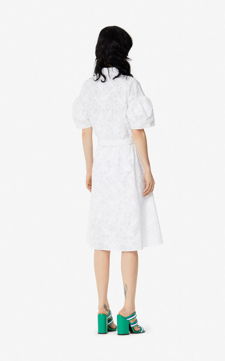 WHITE 'Flying Phoenix' shirt dress for women KENZO