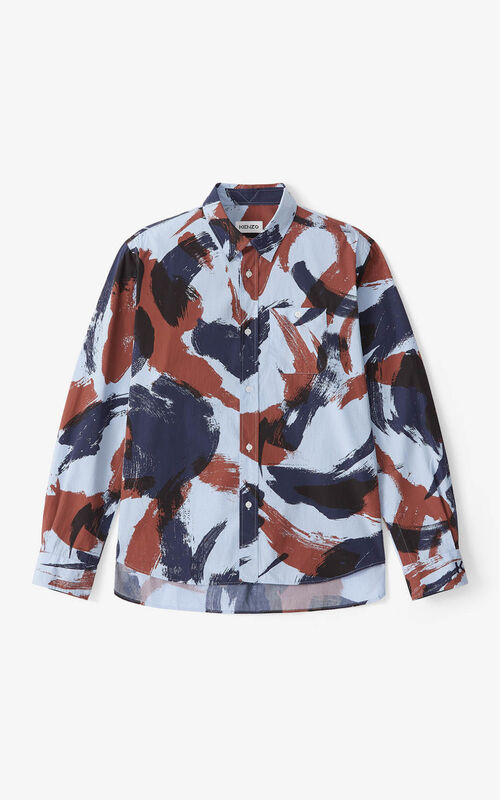 MOROCCAN BROWN 'Brushed Camo' casual shirt for unisex KENZO