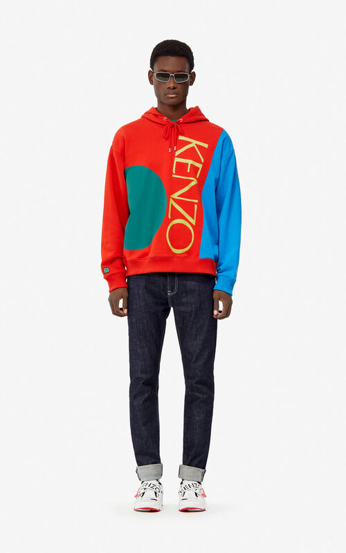 MEDIUM RED Colorblock hoody sweatshirt for men KENZO