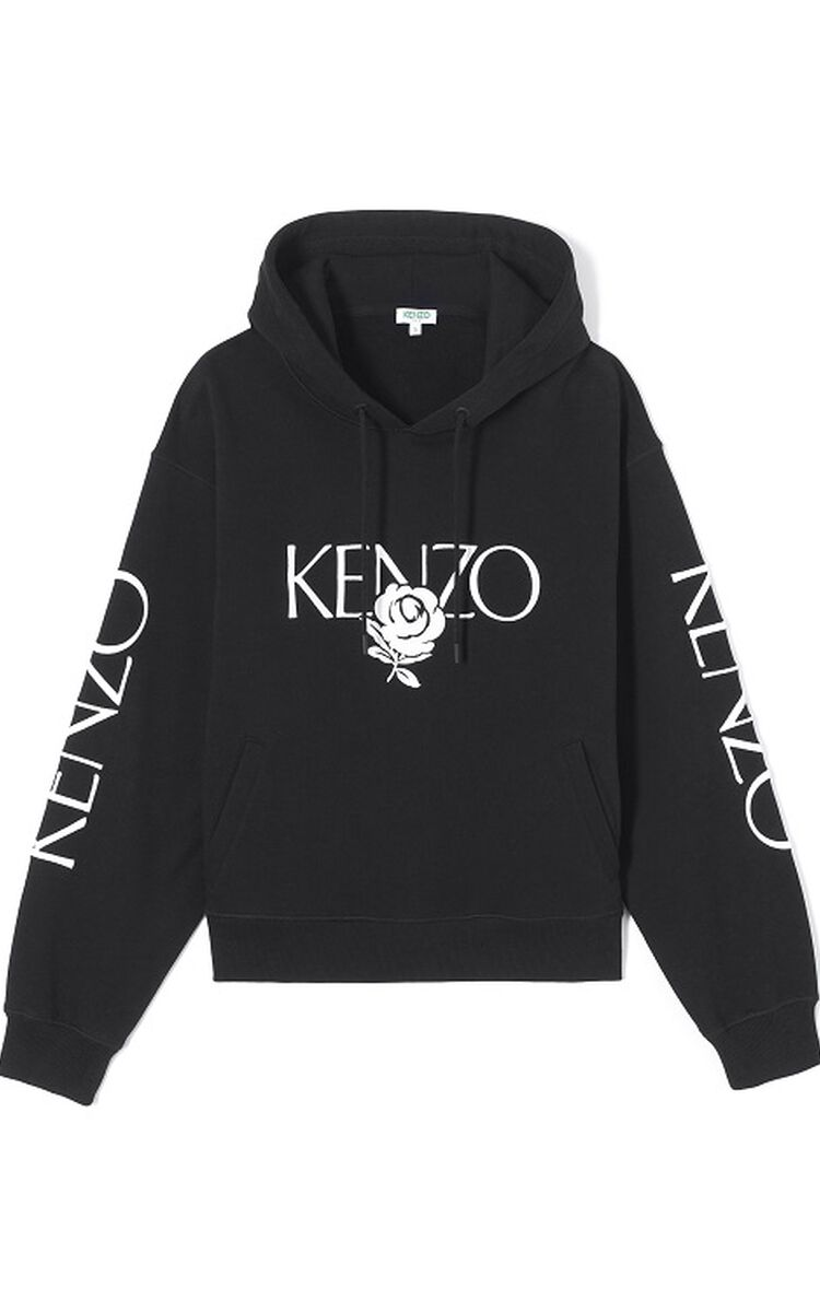 BLACK 'Roses' hoodie for women KENZO