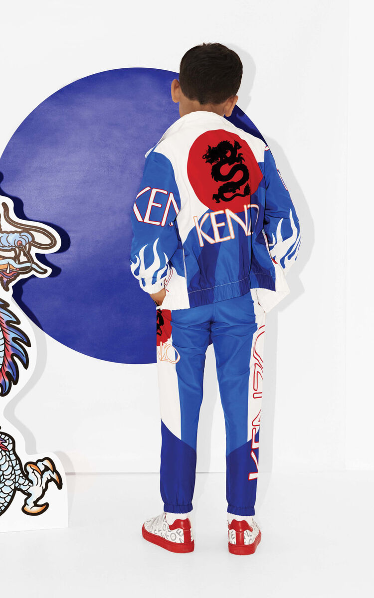 ROYAL BLUE 'Dragon Celebration' zipped jacket for men KENZO