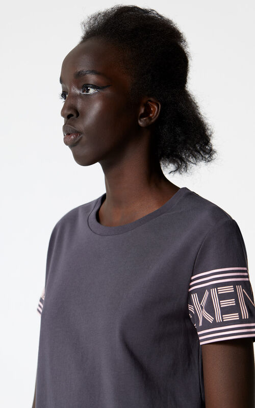 ANTHRACITE KENZO logo t-shirt dress for women