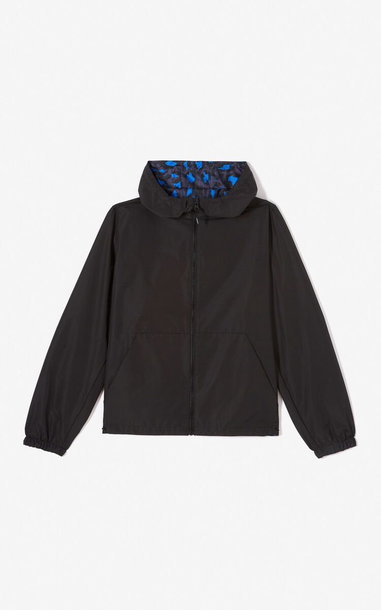 BLACK Reversible windbreaker with KENZO Logo for women