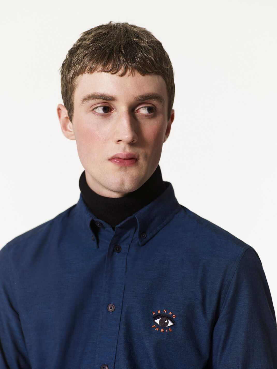 NAVY BLUE Eye Embroidered Shirt for men KENZO