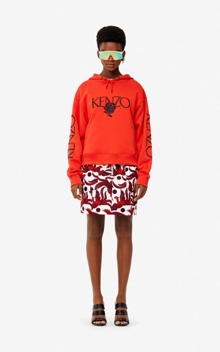 MEDIUM RED 'Roses' hoodie for women KENZO