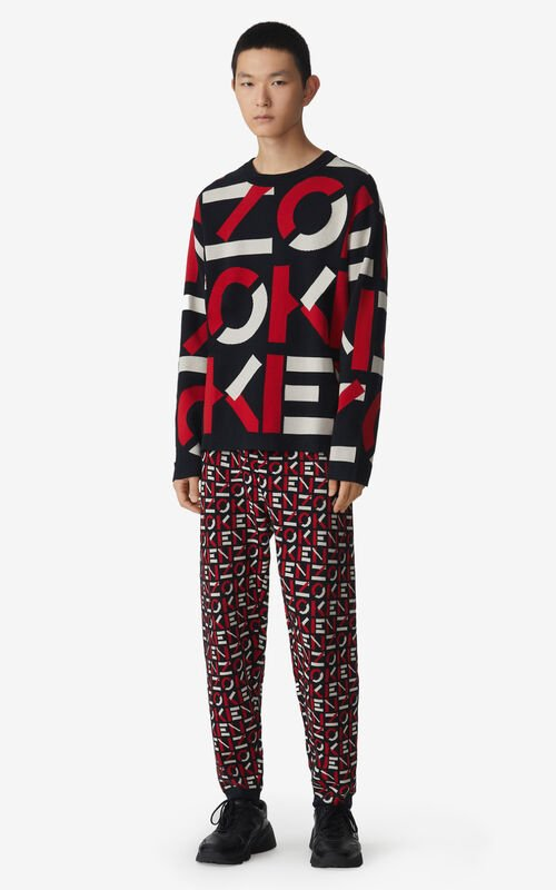 MEDIUM RED KENZO Sport jacquard monogram jumper for men