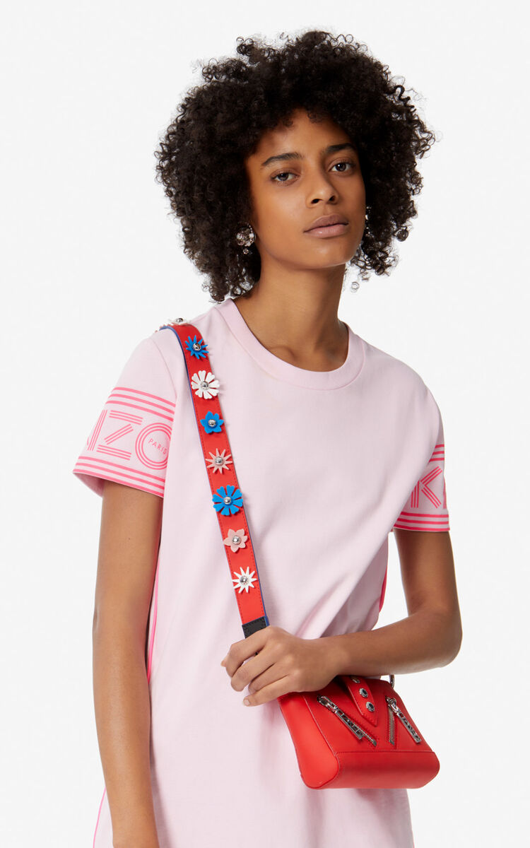 MEDIUM RED 'Flowers' leather shoulder strap for unisex KENZO