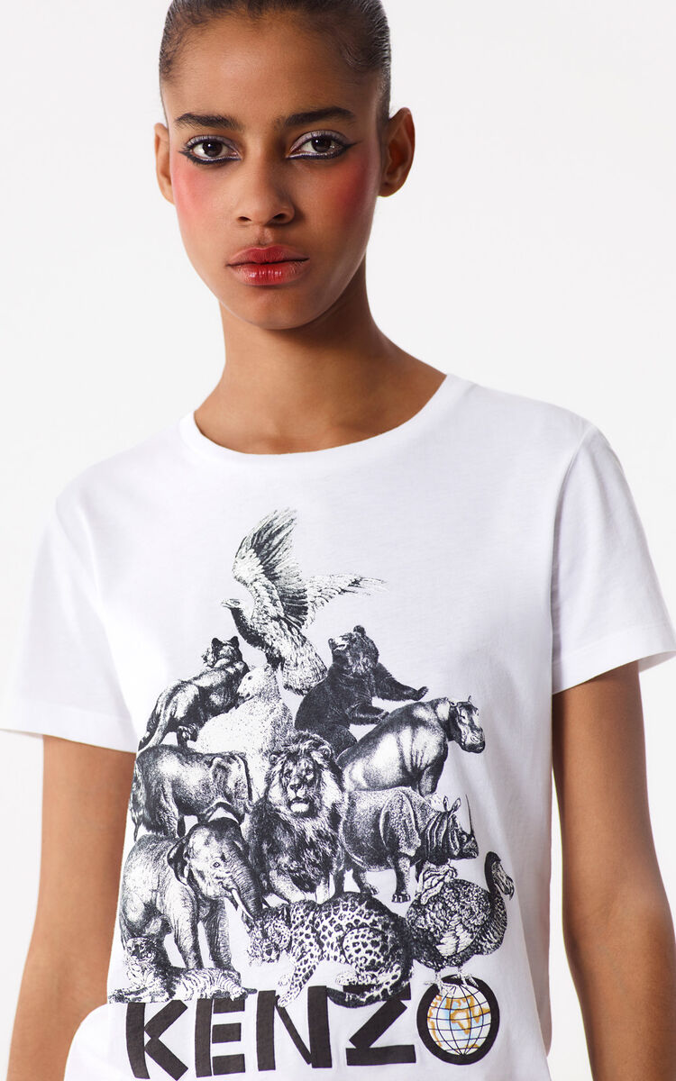WHITE 'Animals' T-shirt for women KENZO