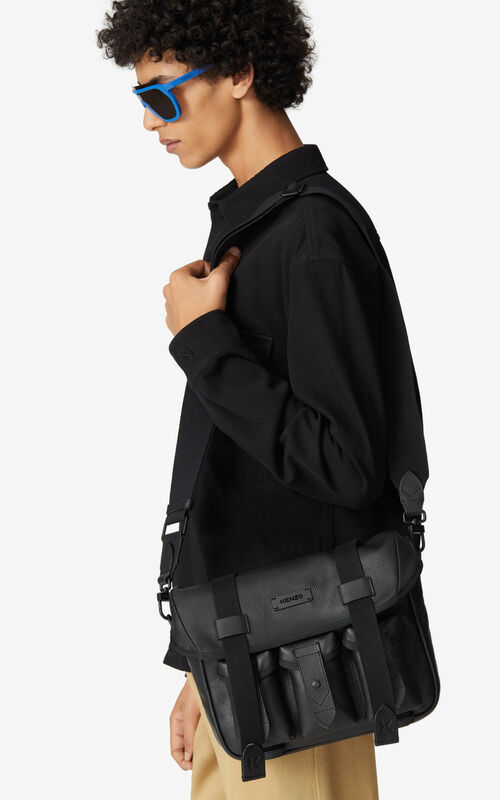 BLACK Courier small grained leather messenger bag for men KENZO