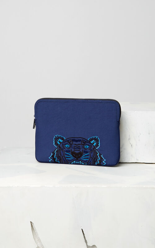 NAVY BLUE Tiger tablet sleeve for men KENZO