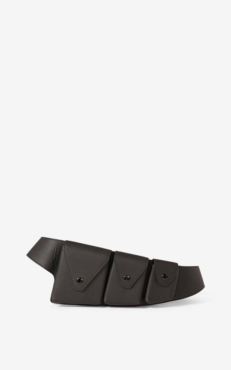 BLACK KENZO Onda leather utility belt for women