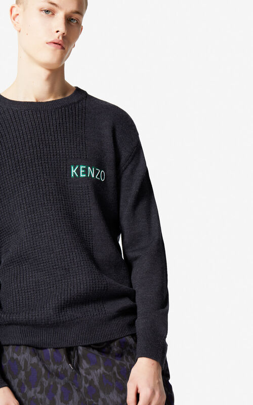 ANTHRACITE Waffle knit wool jumper for men KENZO