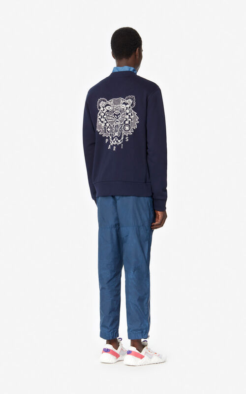 MIDNIGHT BLUE 'Ikat' Tiger baseball jacket for men KENZO