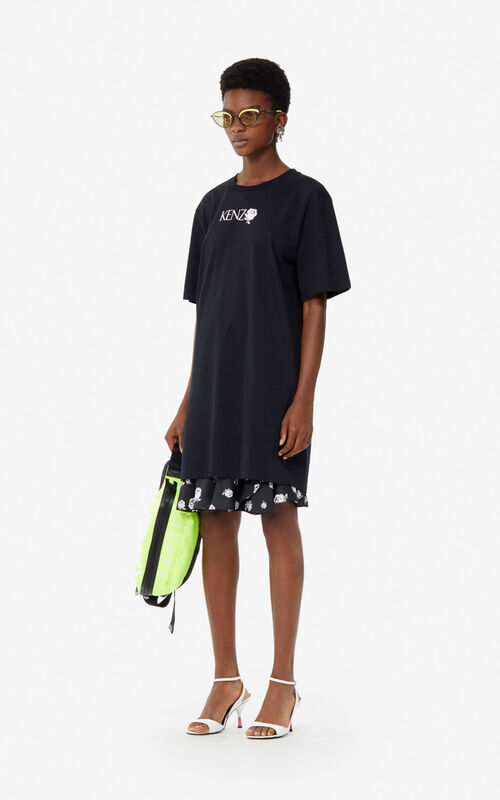 BLACK 'Roses' T-shirt dress for women KENZO