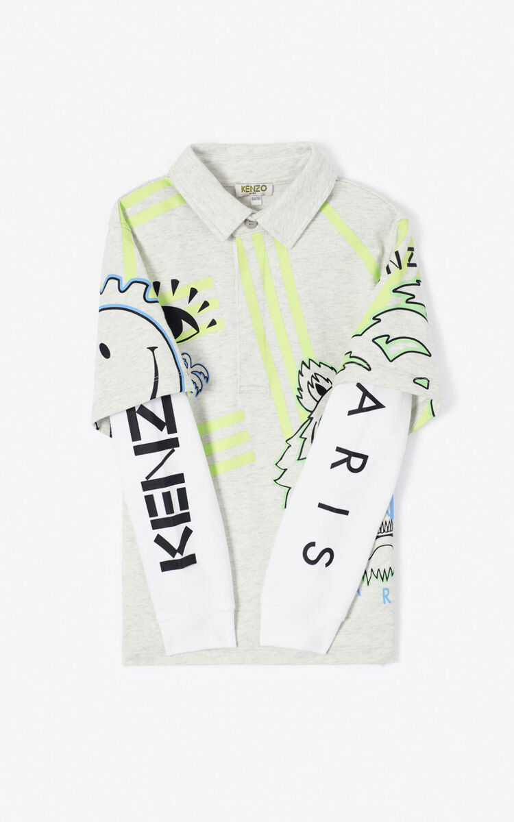 PALE GREY 'Cali Party' Multi-Icon Polo Sweatshirt. for men KENZO