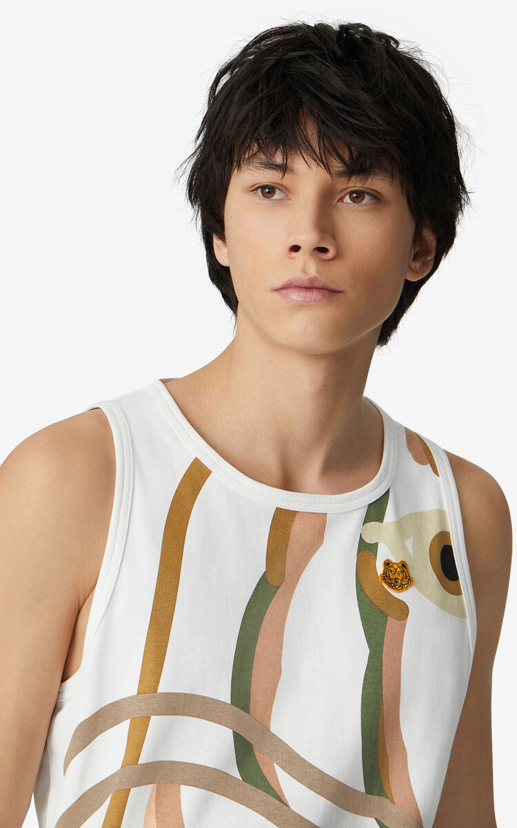 WHITE K-Tiger oversized vest top for men KENZO