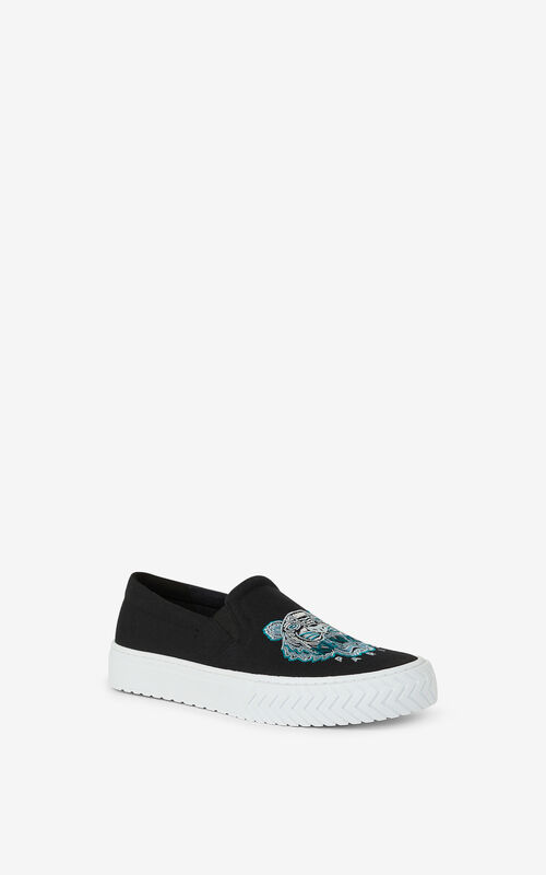 BLACK K-Skate Tiger laceless canvas sneakers for unisex KENZO