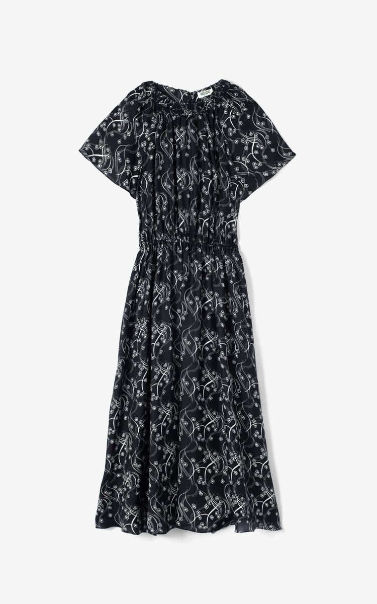BLACK 'Urchin Waves' silk midi dress for women KENZO